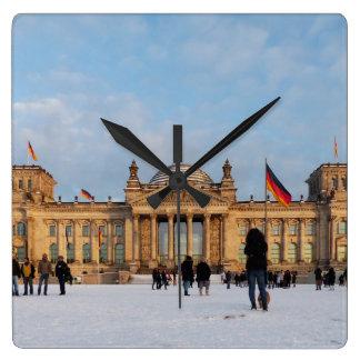 Snowy Reichstag_001.03 (Reichstag im Schnee) Square Wall Clock