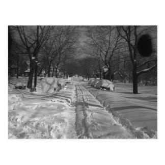 Snowy residential street postcard