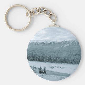 Snowy Rocky Mountains in Winter Fine Photography Basic Round Button Keychain