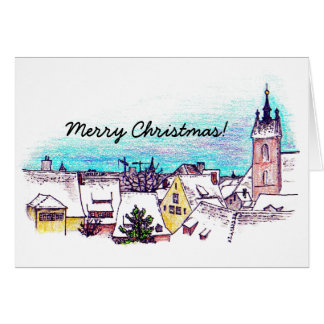 Snowy rooftops in the City Card
