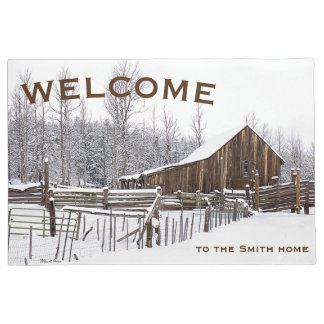 Snowy Rural Barn Scene Photograph Doormat