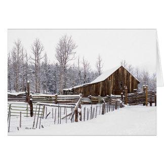 Snowy Rural Barn Scene Photographs Card