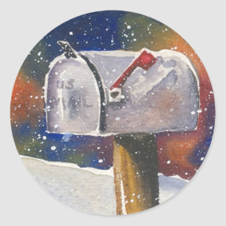 Snowy Rural Mailbox Classic Round Sticker