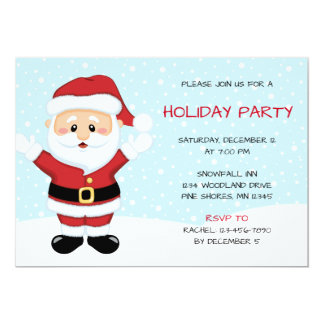 Snowy Santa Christmas Holiday Party Invitations