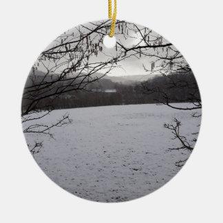 Snowy Scene Ceramic Ornament