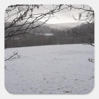 Snowy Scene Square Sticker