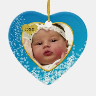 Snowy Sky Blue Baby's First Christmas Photo Heart Ceramic Heart Ornament