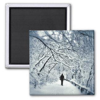 Snowy Solitude Square Magnet
