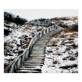 Snowy Staircase Canvas Poster
