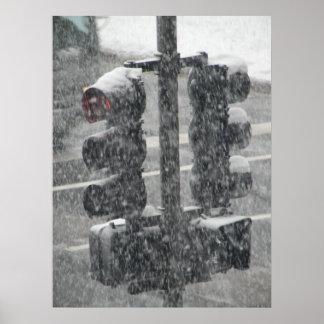 Snowy Stoplight Poster
