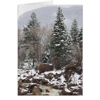 snowy stream holiday greeting card