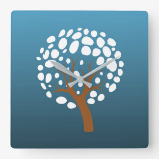 Snowy stylized tree square wall clock