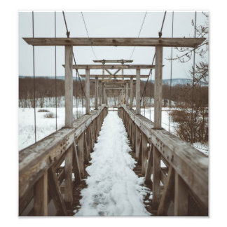 Snowy Suspension Bridge Photo Print