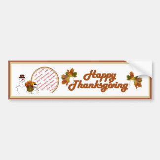 Snowy Thanksgiving Photo Frame Bumper Sticker