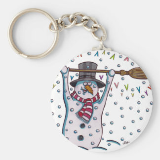 Snowy the Snowman Basic Round Button Keychain