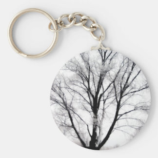 Snowy Tree Basic Round Button Keychain