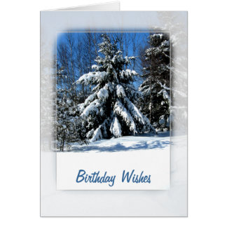 Snowy Tree Birthday Wishes Card