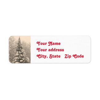 Snowy Tree Christmas Return Address Labels