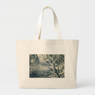 Snowy Tree Mouse Pad Large Tote Bag