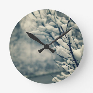Snowy Tree Mouse Pad Round Clock