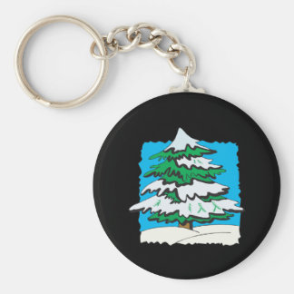 Snowy Tree.png Basic Round Button Keychain