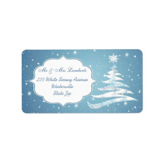 Snowy tree, snowflakes on blue Christmas Gift tag