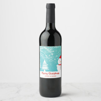 Snowy Trees And Snowman Wine Label