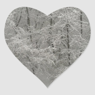 Snowy Trees Heart Sticker