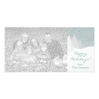 Snowy Trees Holiday Card Template Personalized Photo Card