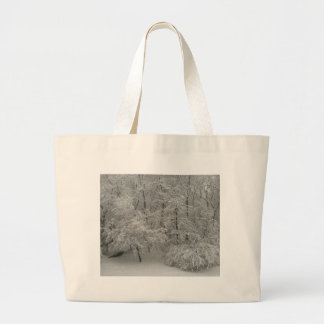 Snowy Trees Large Tote Bag