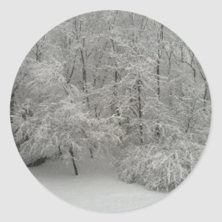 Snowy Trees Round Sticker
