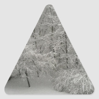 Snowy Trees Triangle Sticker