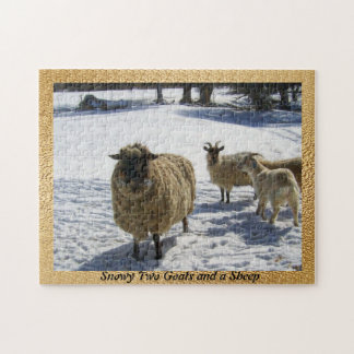 Snowy Two Goats and a Sheep Jigsaw Puzzle