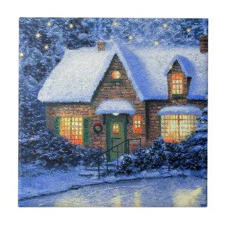 Snowy Village Scene Christmas Gift Ceramic Tiles