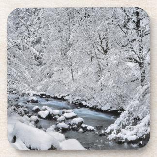 Snowy white creek scenic, Oregon Drink Coasters