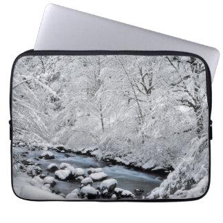 Snowy white creek scenic, Oregon Laptop Sleeve