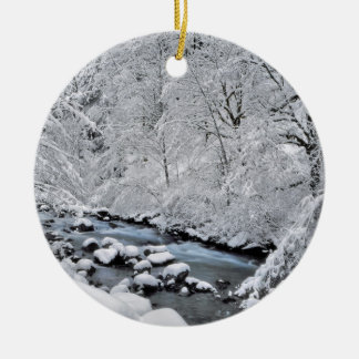 Snowy white creek scenic, Oregon Round Ceramic Ornament