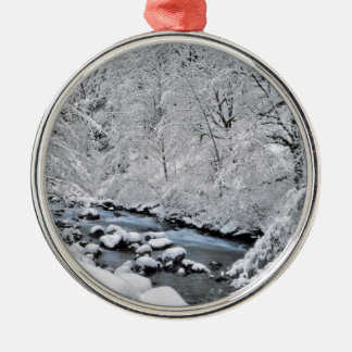 Snowy white creek scenic, Oregon Silver-Colored Round Ornament