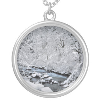 Snowy white creek scenic, Oregon Silver Plated Necklace