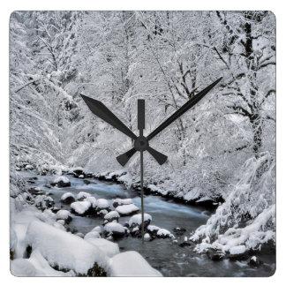 Snowy white creek scenic, Oregon Square Wall Clock