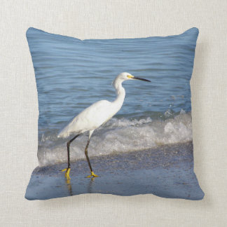 Snowy White Egret in Surf Throw Pillow