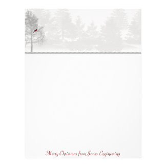 Snowy White Forest with Red Cardinal Letterhead