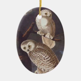 Snowy White Owl Oval Christmas Ornament