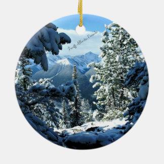 Snowy White Winter in Banff, Alberta, Canada Round Ceramic Ornament