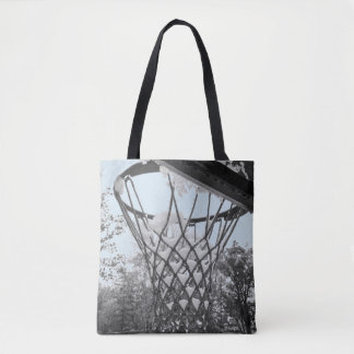 Snowy Winter Basketball Net Hoop Black and White Tote Bag