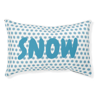 Snowy Winter Blue Snowflake Snow Dog Personalized Pet Bed