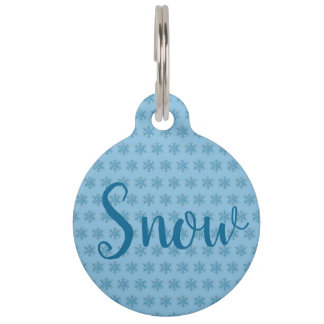 Snowy Winter Blue Snowflake Snow Flake Blizzard Pet ID Tag