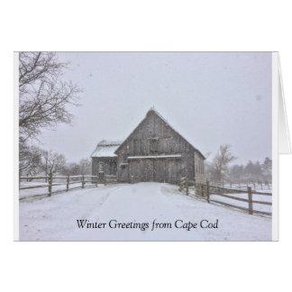 Snowy Winter Cape Cod Scene Greeting Card