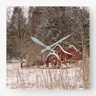 Snowy Winter Farm Machinery Photo Wall Clock