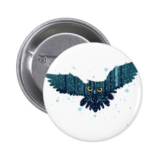 Snowy Winter Forest and Owl 2 2 Inch Round Button